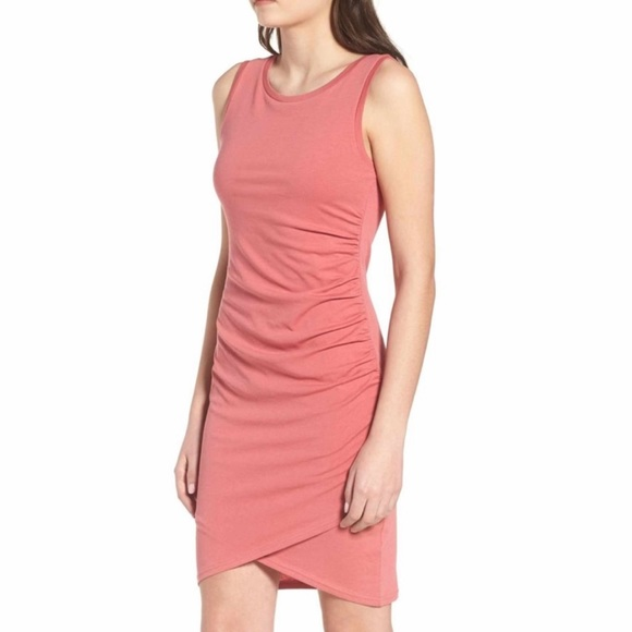 Leith Dresses & Skirts - NWT Leith ruched tank dress coral pink sleeveless